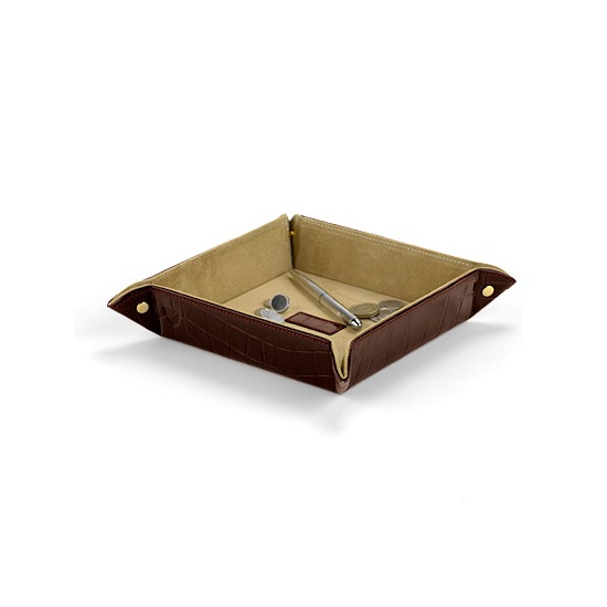Medium Tidy Tray in Deep Shine Amazon Brown Croc & Stone Suede from Aspinal of London