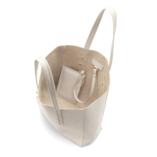 Aspinal Essential Tote in Ivory Saffiano & Smooth Ivory from Aspinal of London