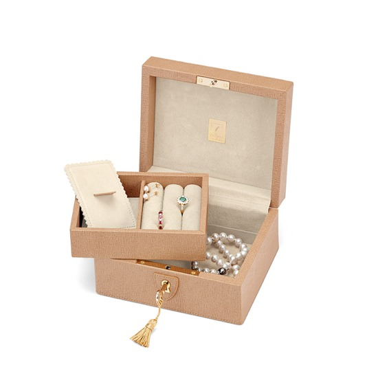 Bijou Jewellery Box in Deer Saffiano & Cream Suede from Aspinal of London