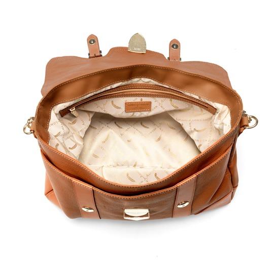 Mollie Satchel Handbag in Tan Pebble & Smooth London Tan from Aspinal of London