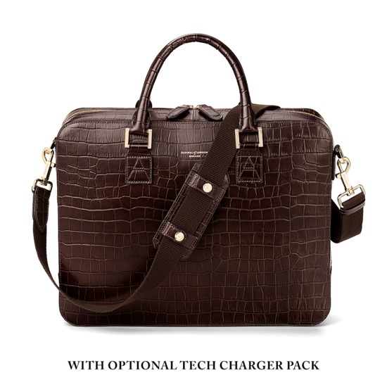 Large Mount Street Bag in Brown Matt Croc from Aspinal of London