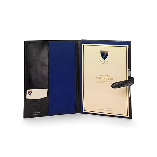 A4 Padfolio in Smooth Black & Cobalt Suede from Aspinal of London