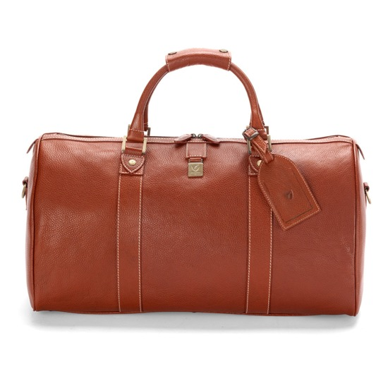 Boston Bag in Tan Pebble Calf from Aspinal of London