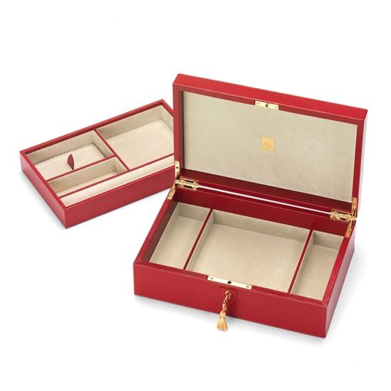 Savoy Jewellery Box in Berry Lizard & Cream Suede from Aspinal of London