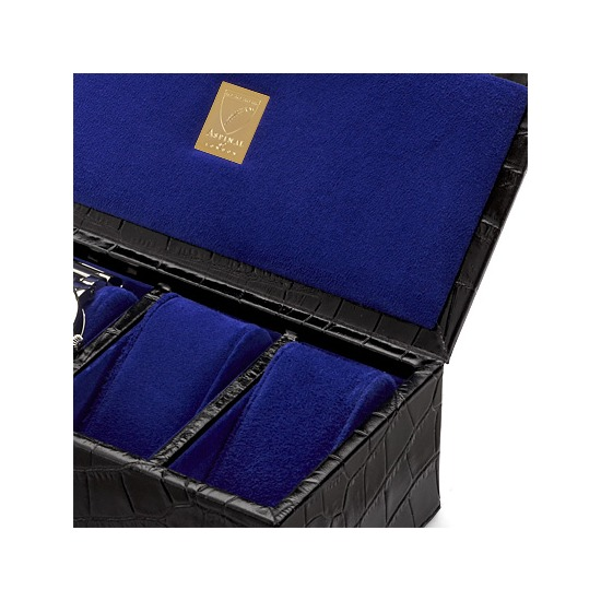 Classic 4 Watch Box in Deep Shine Black Croc & Cobalt Suede from Aspinal of London