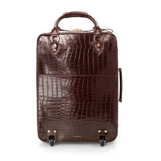 Large Cabin Case in Deep Shine Amazon Brown Croc from Aspinal of London