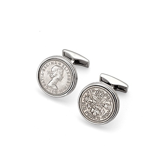 Sixpence Cufflinks from Aspinal of London