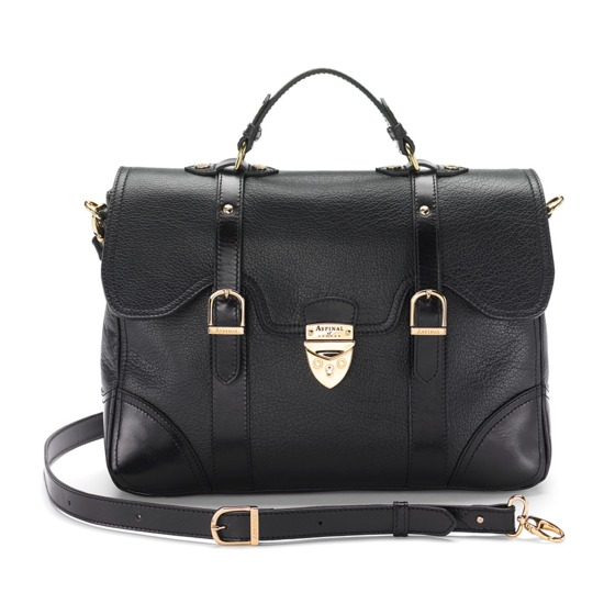 Mollie Satchel Handbag in Black Pebble & Smooth Black from Aspinal of London