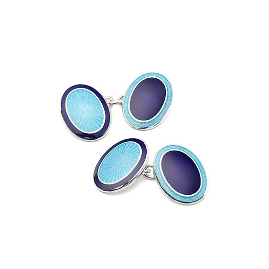 Sterling Silver & Enamel Faberge Style Cufflinks in Navy & Opal Blue from Aspinal of London