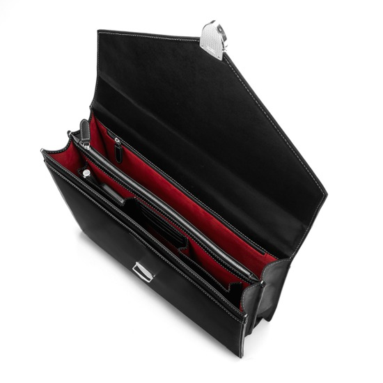 Executive Laptop Briefcase in Smooth Black & Red Suede from Aspinal of London