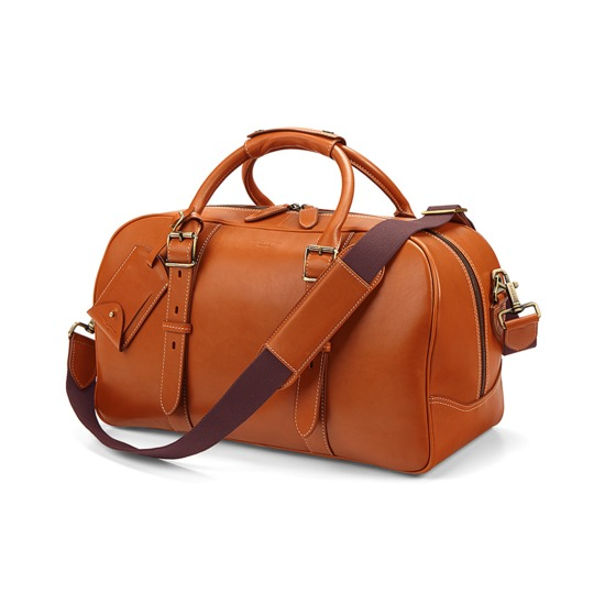 Small Harrison Weekender Travel Bag in Smooth Tan from Aspinal of London