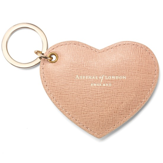 Heart Key Ring in Deer Saffiano from Aspinal of London