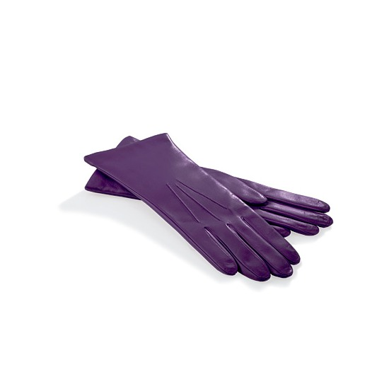 Ladies Cashmere Lined Leather Gloves in Purple from Aspinal of London