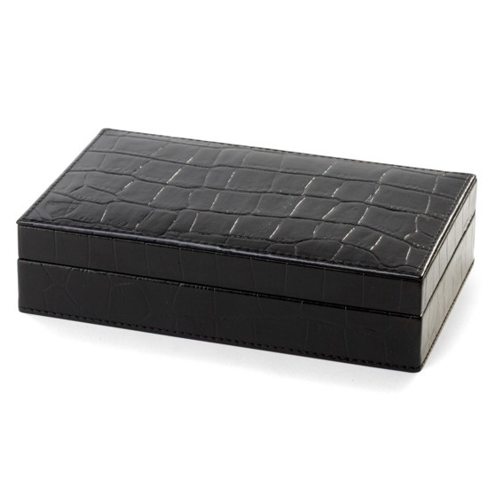 Bridge Set in Leather Case in Deep Shine Black Croc from Aspinal of London