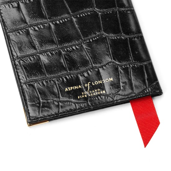 Passport Cover in Deep Shine Black Croc from Aspinal of London