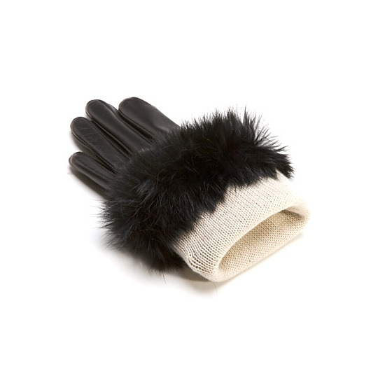 Ladies Fur Cuffed Gloves in Black from Aspinal of London