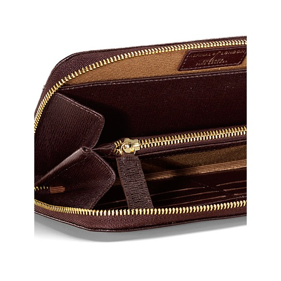 Continental Clutch Zip Wallet in Chocolate Brown Saffiano from Aspinal of London