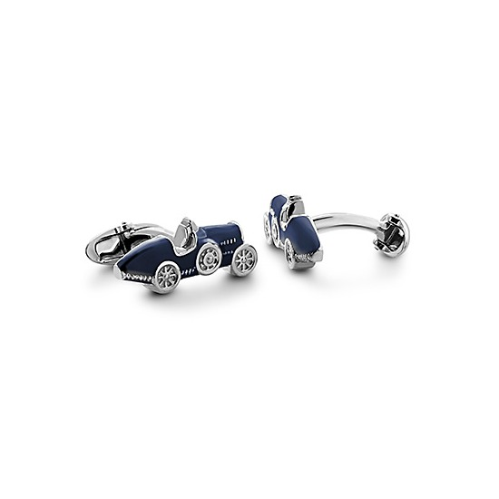 Sterling Silver & Enamel Classic Car Cufflinks in Blue from Aspinal of London