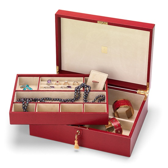 Grand Luxe Jewellery Case in Berry Lizard & Cream Suede from Aspinal of London
