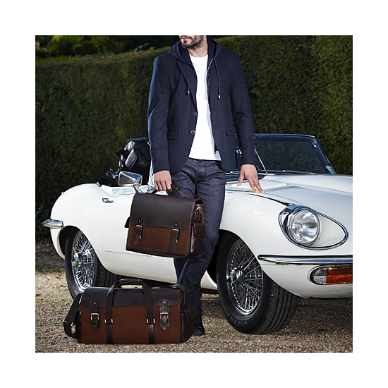 Shadow Holdall in Brown Nubuck from Aspinal of London