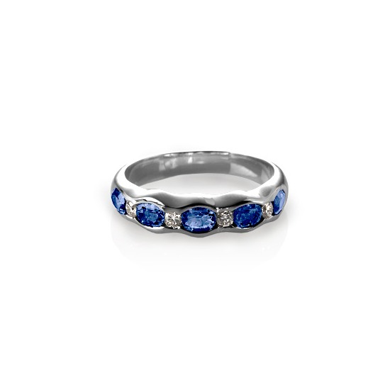 Phoebe Wave Sapphire & Diamond Ring from Aspinal of London