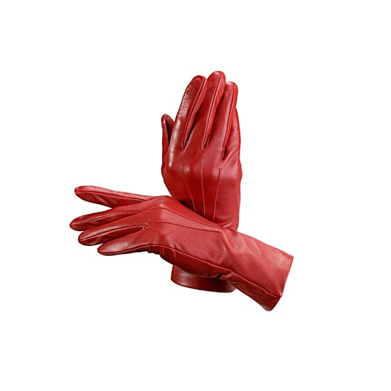 Ladies Cashmere Lined Leather Gloves in Red from Aspinal of London