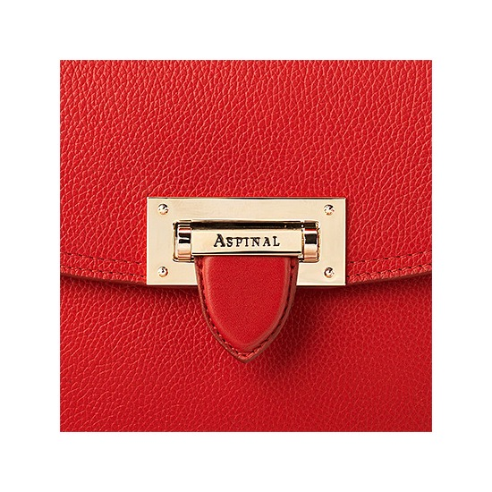 Letterbox Saddle Bag in Berry Pebble from Aspinal of London