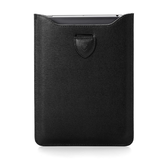 iPad Mini Sleeve in Black Saffiano from Aspinal of London