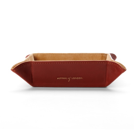 Mini Tidy Tray in Smooth Cognac & Stone Suede from Aspinal of London