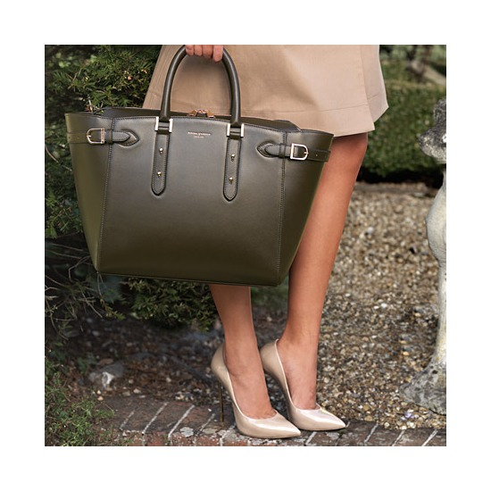 Large Marylebone Tech Tote in Smooth Moss Green from Aspinal of London