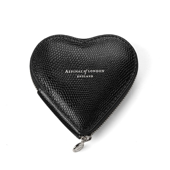 Heart Coin Purse in Jet Black Lizard from Aspinal of London