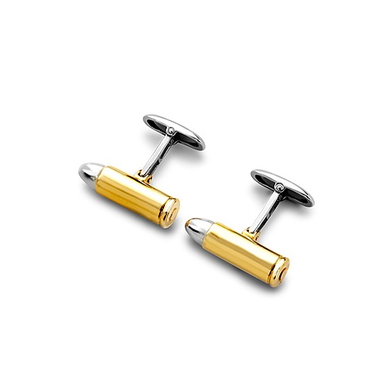 Sterling Silver & Gold Plated Bullet Cufflinks from Aspinal of London