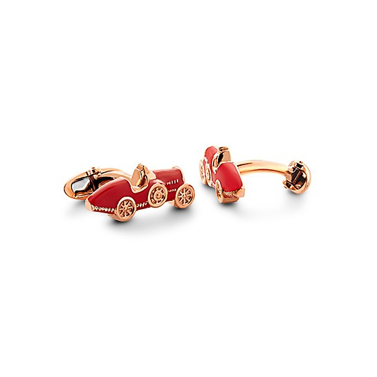 18ct Rose Gold Vermeil & Enamel Classic Car Cufflinks in Red from Aspinal of London