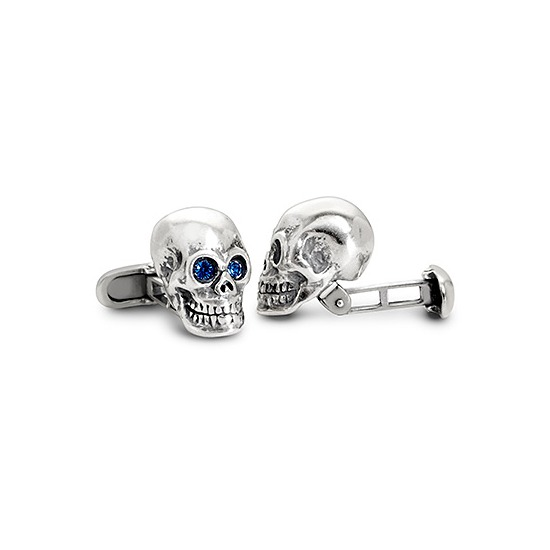 Sterling Silver Skull Cufflinks from Aspinal of London