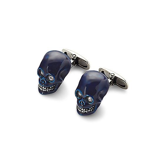 Sterling Silver & Blue Enamel Skull Cufflinks from Aspinal of London