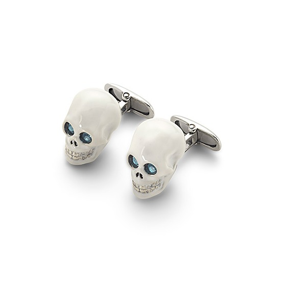 Sterling Silver & White Enamel Skull Cufflinks in White from Aspinal of London