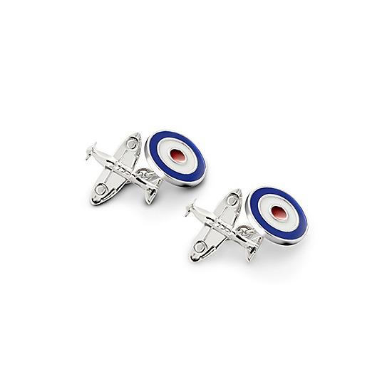 Sterling Silver Spitfire & Enamel RAF Roundel Cufflinks from Aspinal of London