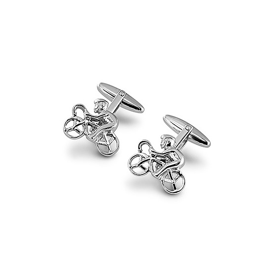Sterling Silver Cyclist Cufflinks from Aspinal of London