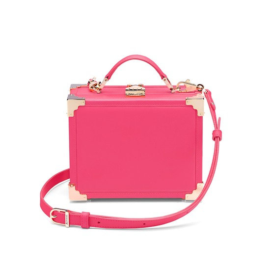 Mini Trunk Clutch in Smooth Neon Pink from Aspinal of London