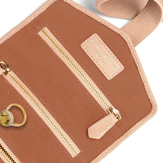 Travel Jewellery Roll in Deer Saffiano from Aspinal of London