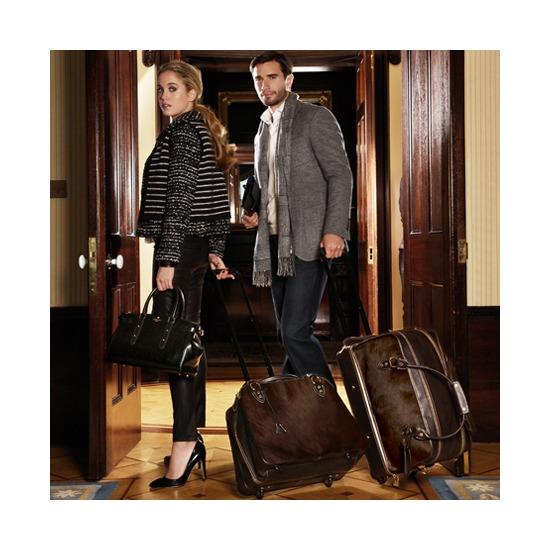 Portofino Rolling Travel Bag in Black Calfskin & Black Haircalf from Aspinal of London