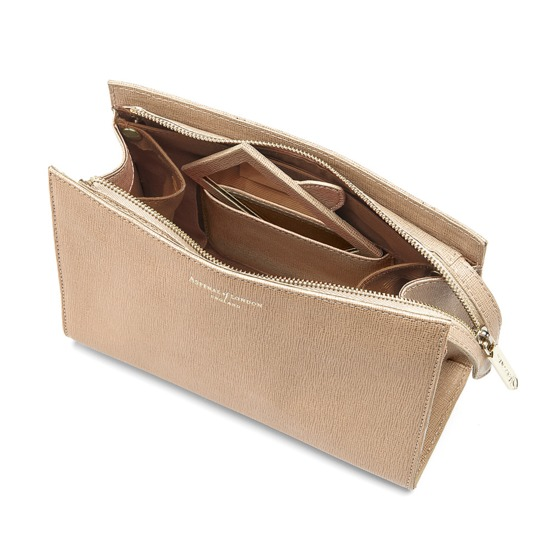 Medium Cosmetic Case in Deer Saffiano from Aspinal of London