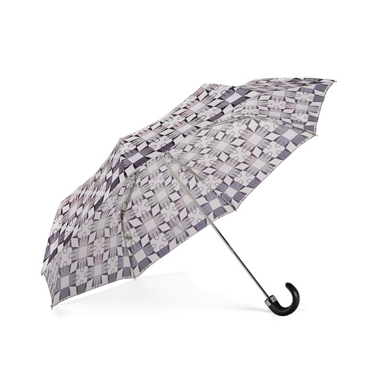 Ladies Marylebone Compact Umbrella in Monochrome from Aspinal of London