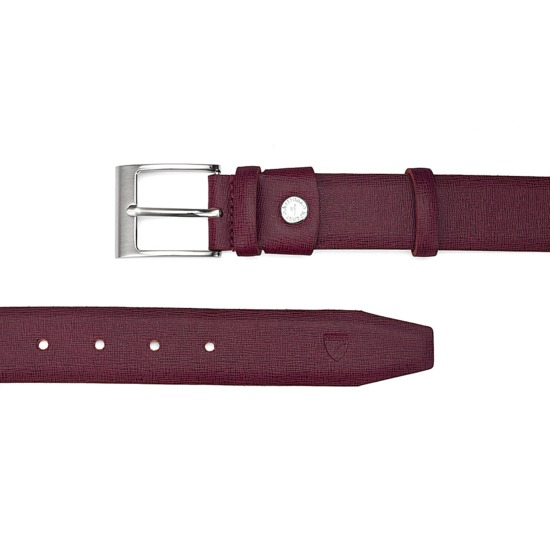 Classic Men's Belt in Burgundy Saffiano from Aspinal of London