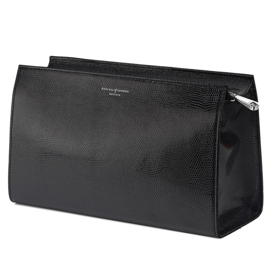 Large Cosmetic Case in Jet Black Lizard from Aspinal of London