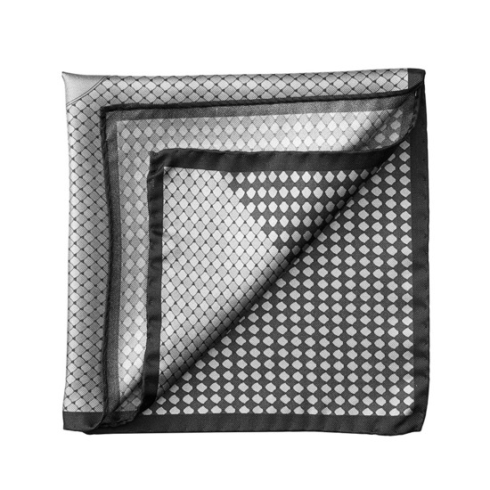 Savile Row Silk Twill Pocket Square in Silver & Charcoal from Aspinal of London