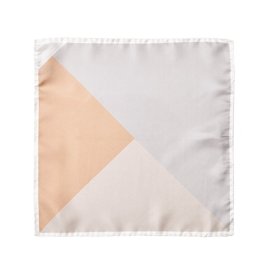 Pall Mall Silk Twill Pocket Square in Silver & Champagne from Aspinal of London