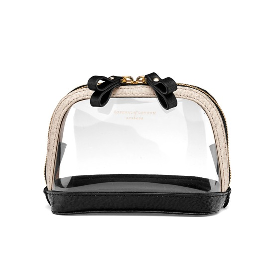 Small Hepburn Cosmetic Case in Clear Monochrome from Aspinal of London