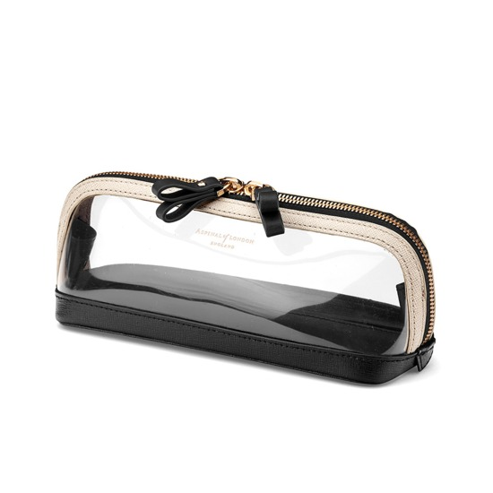 Medium Hepburn Cosmetic Case in Clear Monochrome from Aspinal of London