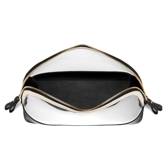 Large Hepburn Cosmetic Case in Clear Monochrome from Aspinal of London